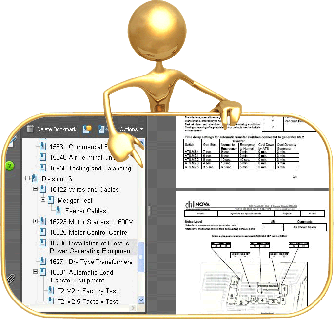 Large image showing man pointing at computer based documentation